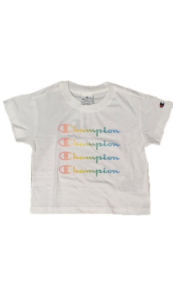 חולצת קרופ לבנה  כיתוב  CHAMPION