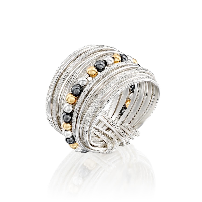 טבעת ספירלי כסף חרוזים