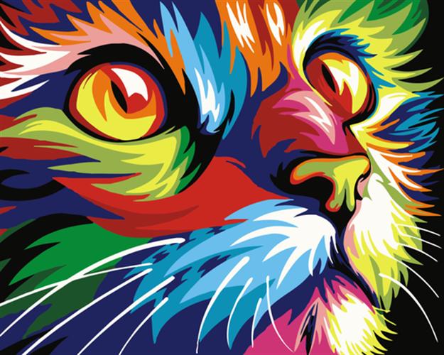 צביעה לפי מספרים - חתול ססגוני