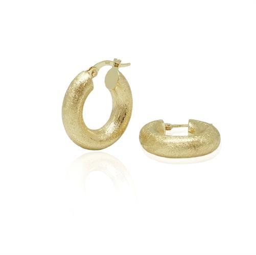 עגילי חישוק זהב צהוב מאט מחוספס קטנים ועבים קוטר 2 סמ
