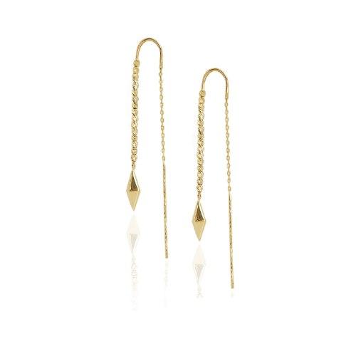 עגילים ארוכים מזהב - עגילים תלויים מזהב - עגילי זהב נתלים ארוכים