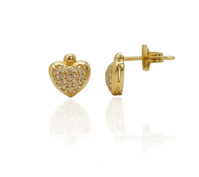 עגילי זהב לב ופאווה יהלומים לילדה או נערה