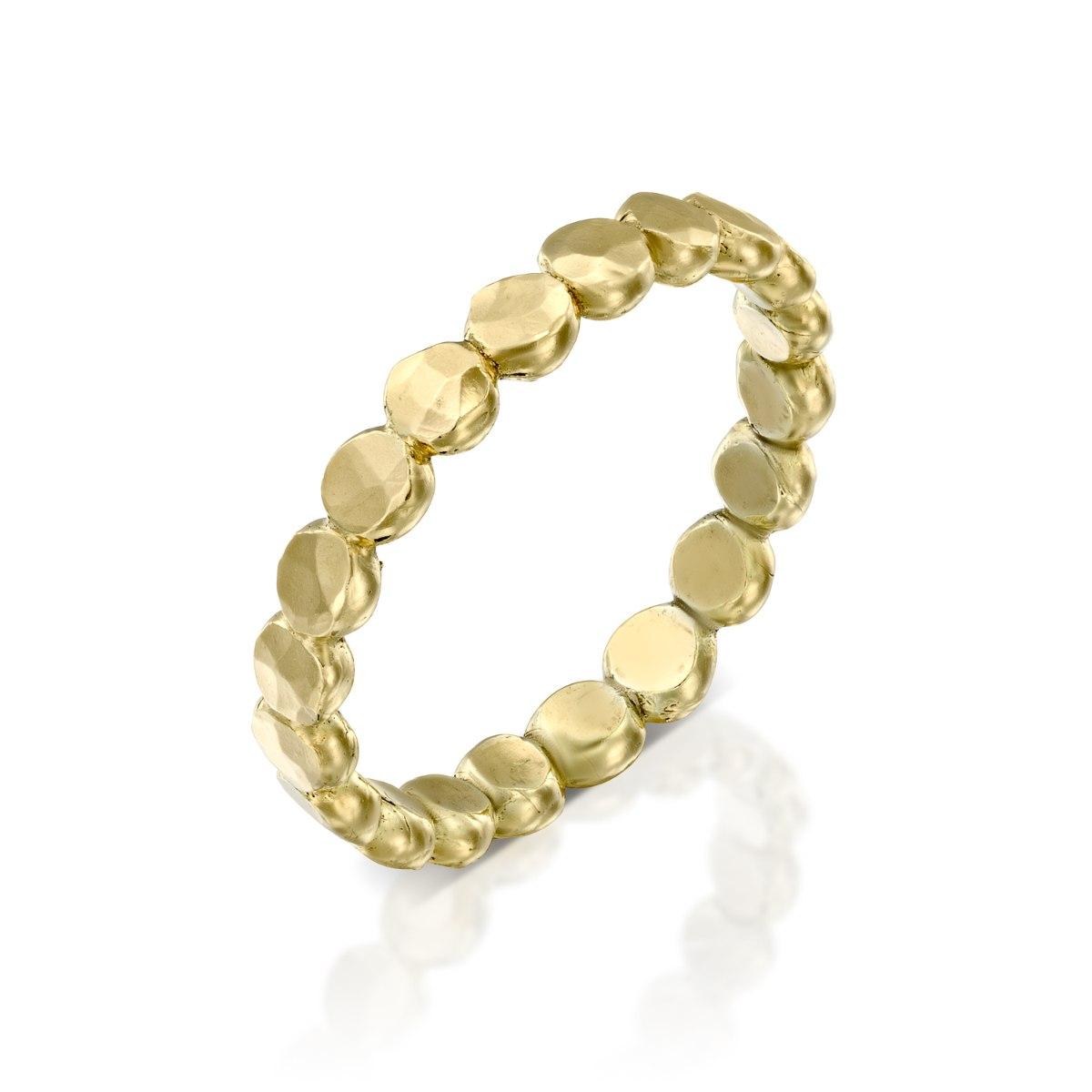 טבעת זהב 14 קרט צהוב סוכריות מרוקעות נועה טריפ noa tripp