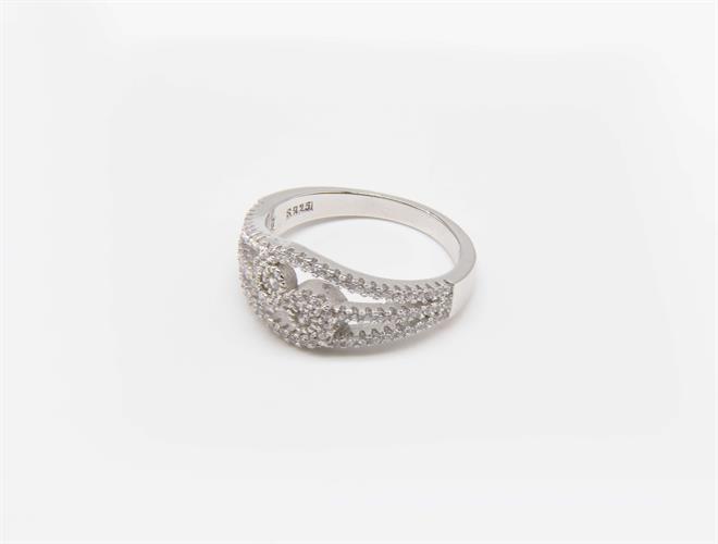 טבעת כסף שלוש שורות משובצת