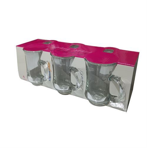 סט 6 כוסות זכוכית מעוצבות עם ידית