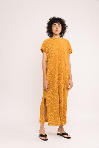 שמלת NAM - פליסה חרדל