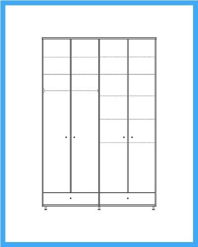 ארון 4 דלתות 2 מגירות דגם יפני