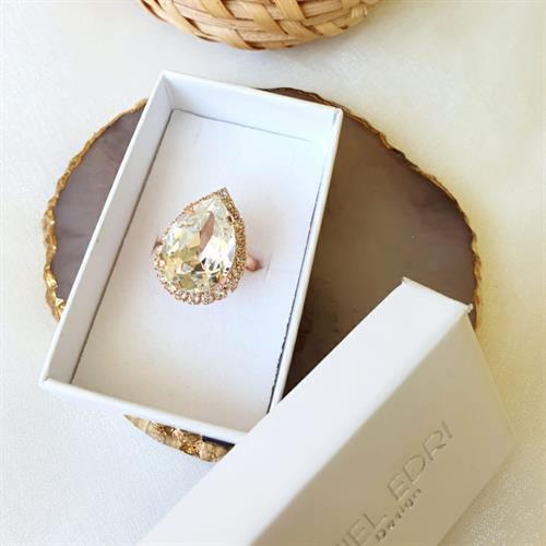 טבעת טיפה - קריסטל זהב