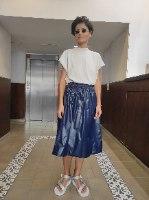 חצאית מניילון יפני - כחול נייבי