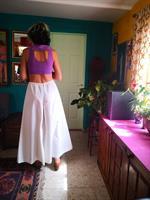 מכנס לבן מתרחב מותן גומי מידה S/M/L
