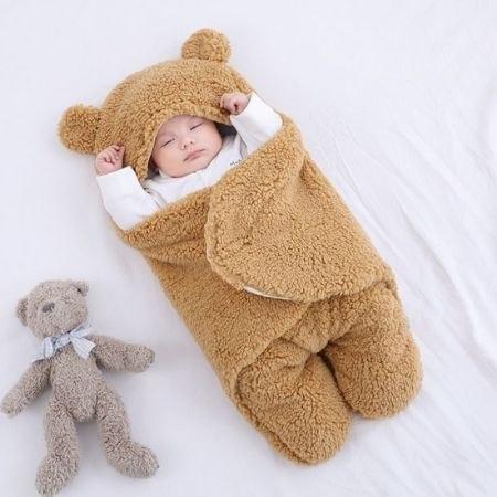 שמיכת תינוק מעוצבת ועוטפת בצורת דוב