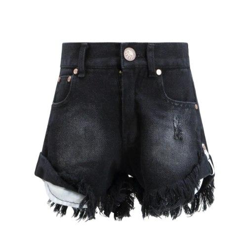 שורט ג'ינס VIEW קרעים שחור 2-16