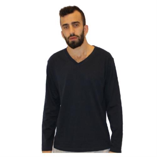 חולצת T בייסיק/צווארון V ש.א