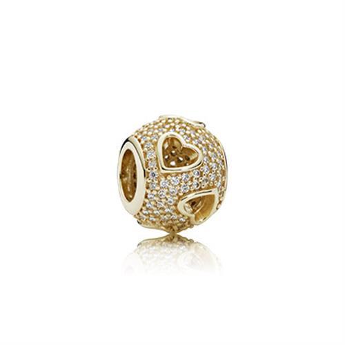 צ'ארם זהב בשיבוץ פאווה עם חיתוכי לבבות 750840CZ