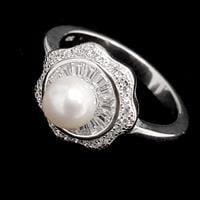 טבעת משובצת פנינה לבנה וזרקונים RG1857 | תכשיטי כסף | טבעות כסף