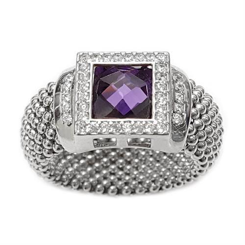 טבעת כסף גמישה משובצת קריסטל סגול בצורת ריבוע ומשובצת אבני זרקון  RG5972