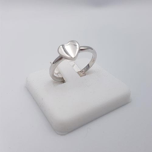 טבעת לב זהב לבן