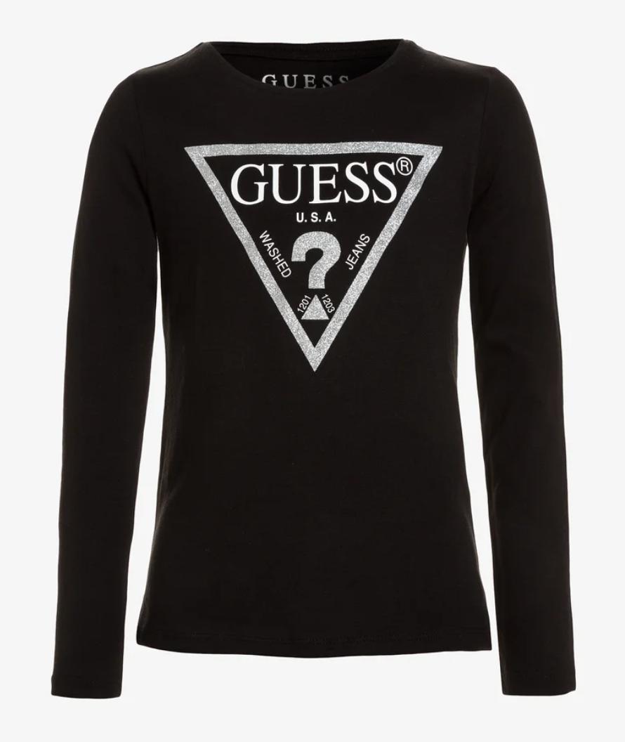 טי שירט שחורה לוגו GUESS כסוף מנצנץ בנות - 2-16 שנים