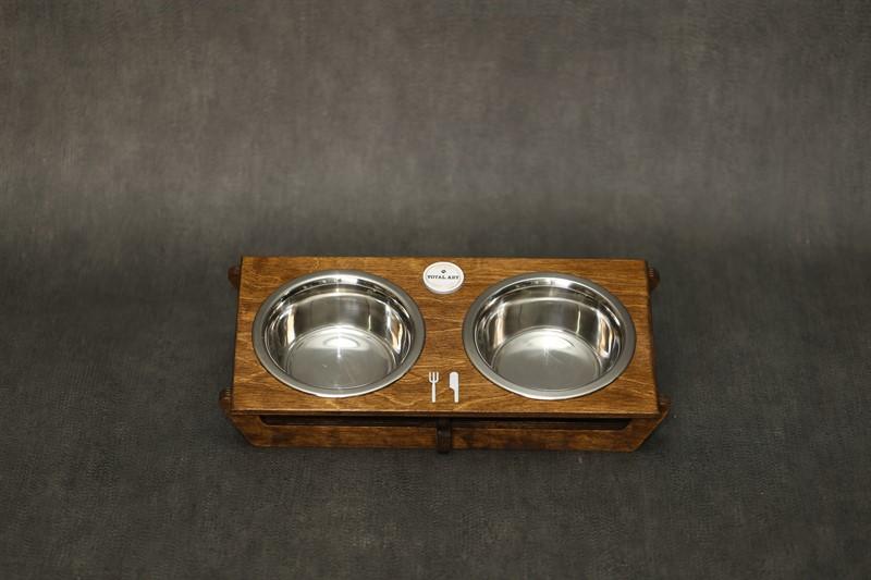 כלי אוכל ושתיה לחתול - שוטים M חום
