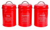 אדום - סט אחסון קפה, תה וסוכר
