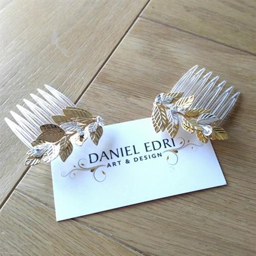 זוג מסרקיות עלים - זהב כסף