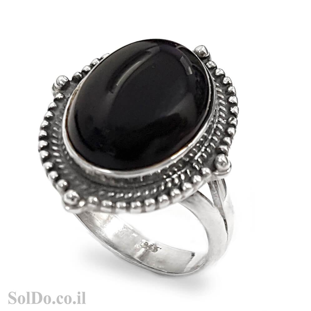 טבעת כסף מעוצבת, משובצת אבן אוניקס שחורה  RG6019 | תכשיטי כסף 925