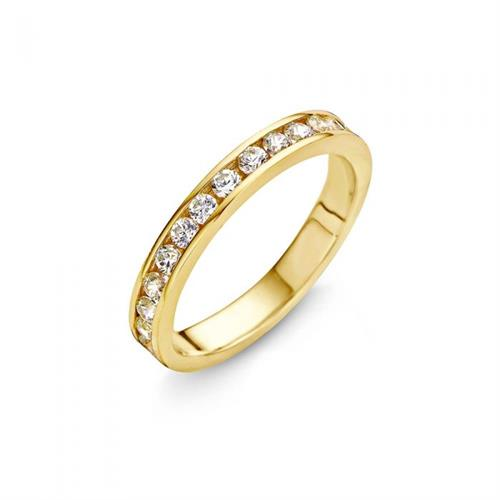 טבעת כסף טהור סטרלינג 925 שיבוץ טניס וציפוי זהב צהוב