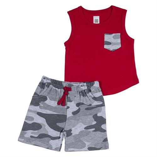 חליפה קצרה גופייה וכיס צבאי אדום