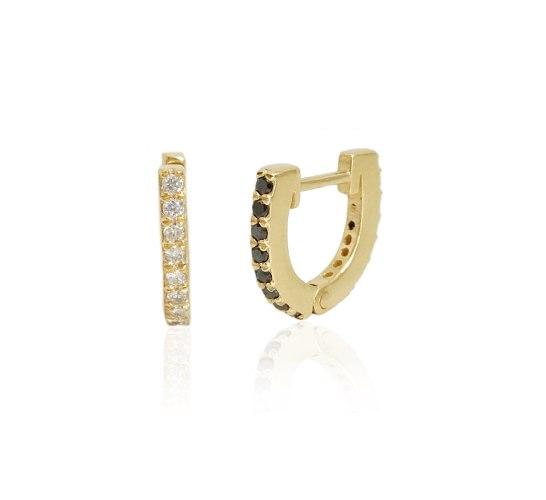 עגילי חישוק קטנים יהלומים| חישוקי יהלומים שחורים ולבנים