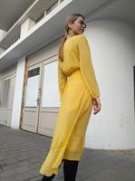 שמלת מעטפת שיפון - צהובה