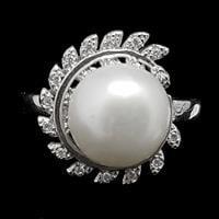 טבעת מכסף משובצת פנינה לבנה וזרקונים RG1490 | תכשיטי כסף 925 | טבעות כסף