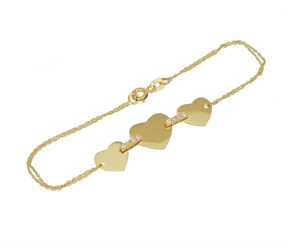 צמיד זהב לאמא או חברה עם 3 לבבות לחריטה