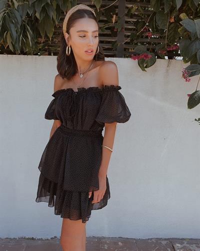 חליפת מיקה נקודות - שחורה