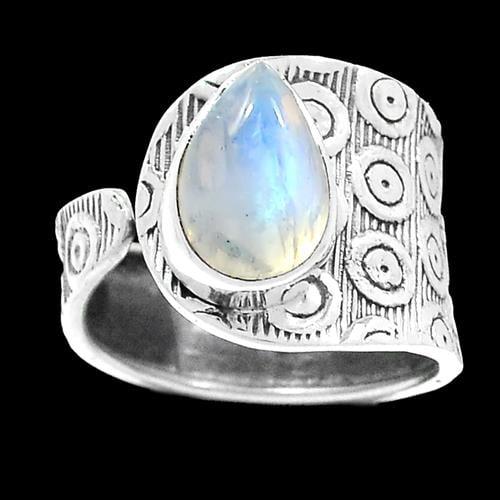 טבעת כסף משובצת אבן מונסטון  RG5895 | תכשיטי כסף 925 | טבעות כסף