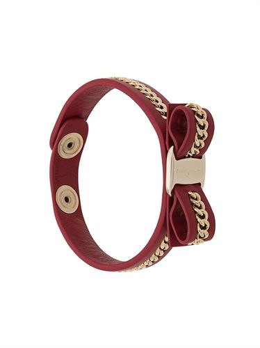 Salvatore Ferragamo  vara bow  chain detail leather bracelet