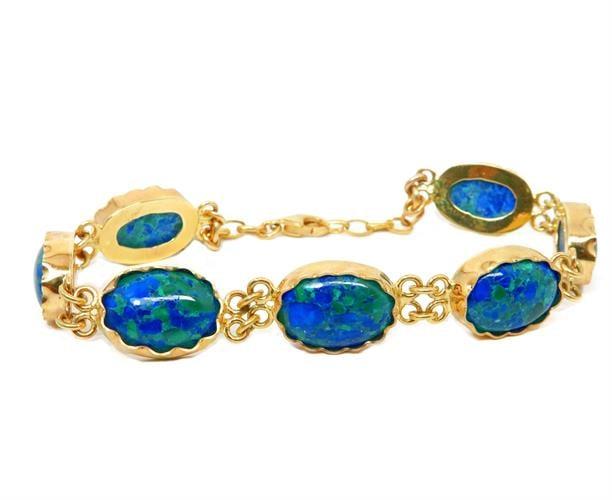 צמיד זהב 14K עבודת יד משובץ אבני חריזוקולה ממשפחת אבני אילת.