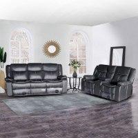 ספה 2+3 מושבים ג'ק מרלו (עור שחור)
