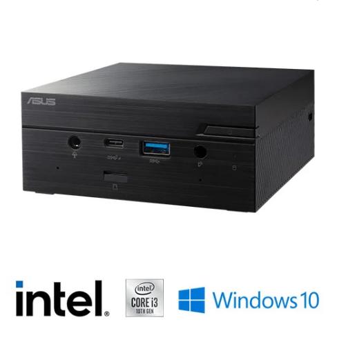 מחשב מיני Asus Mini PC הכולל מעבד i3-10110U Intel, זכרון 8GB, כונן 480GB SSD, מערכת הפעלה Windows 10