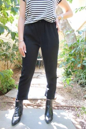 מכנסי רון קפלים שחור