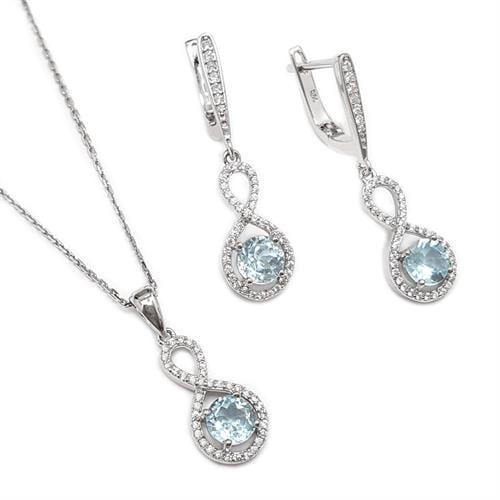 עגילים תלויים ותליון מכסף משובצים אבני טופז כחולות וזרקונים S1573