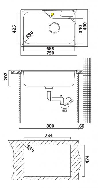 כיור מטבח יחיד תוצרת אולין דגם ויסקונסין