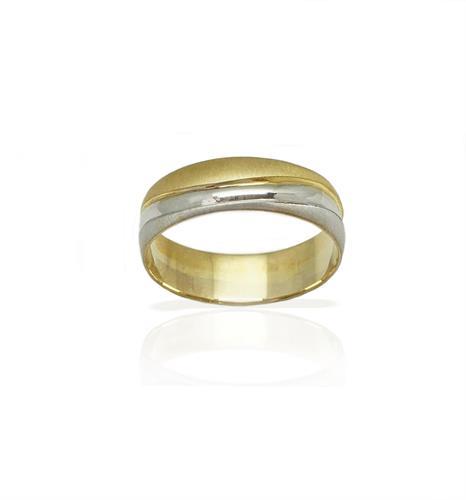 טבעת נישואין קלאסית מאט ומבריק מזהב צהוב ולבן 14 קאראט- דגם M103