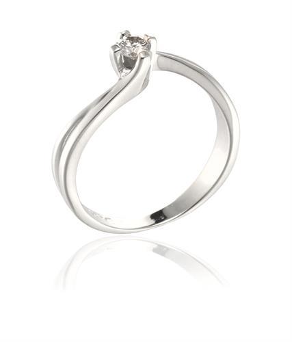 טבעת יהלום זהב בסגנון טוויסט 0.12 קראט