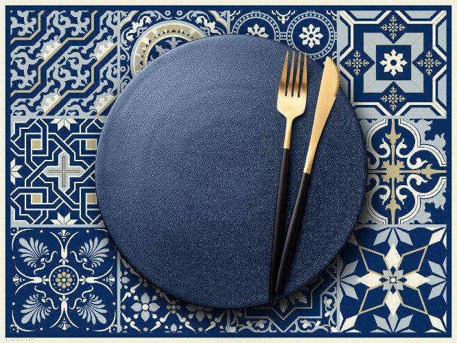 פלייסמט  מבודד חום לשולחן אקלקטי כחול מלכותי  TIVA DESIGN