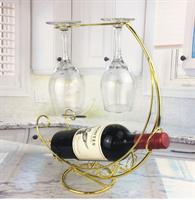 מעמד בקבוק יין מתכת עם כוסות