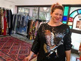 חולצת פאייטים נדירה ציפור שנות ה-80 מידה XL