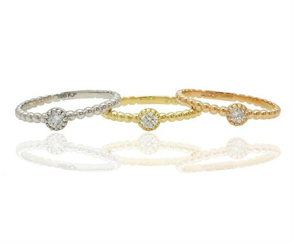 טבעת זהב כדורי עם אבן יהלום 0.12 קראט