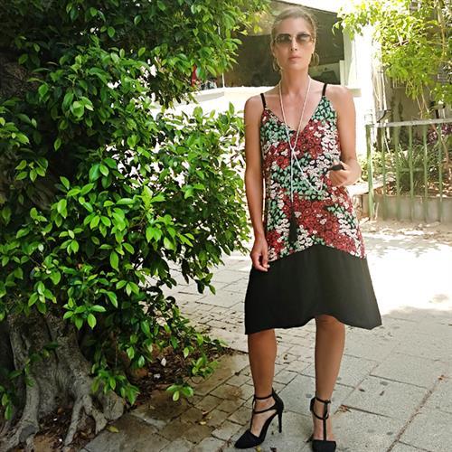 שמלת גופייה פרחוני שחור