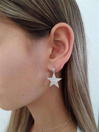עגילי כוכב גדול משובץ