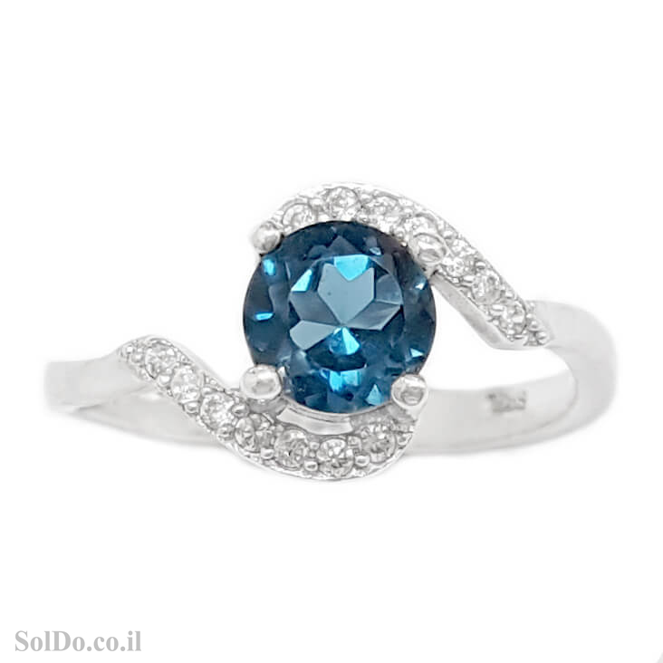 טבעת מכסף משובצת אבן טופז כחולה  וזרקונים RG6125 | תכשיטי כסף 925 | טבעות כסף
